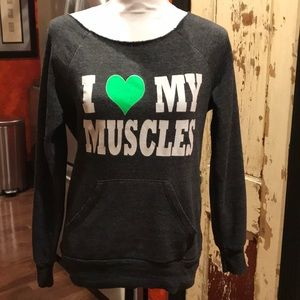 I ❤️ my muscles scoop neck gym sweatshirt